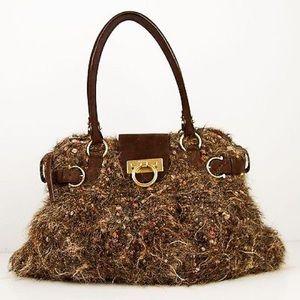 RARE NEW SALVATORE FERRAGAMO LTD ED AUTH Tweed Bag